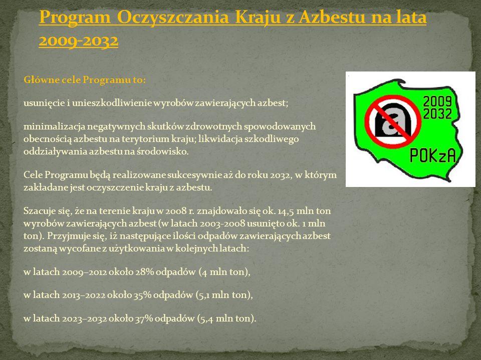 Główne cele Programu to: usunięcie i unieszkodliwienie wyrobów zawierających azbest; minimalizacja negatywnych skutków zdrowotnych spowodowanych obecn