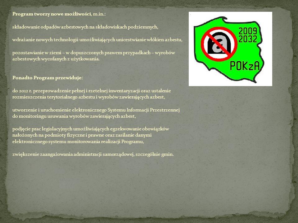 Program tworzy nowe możliwości, m.in.: składowanie odpadów azbestowych na składowiskach podziemnych, wdrażanie nowych technologii umożliwiających unic