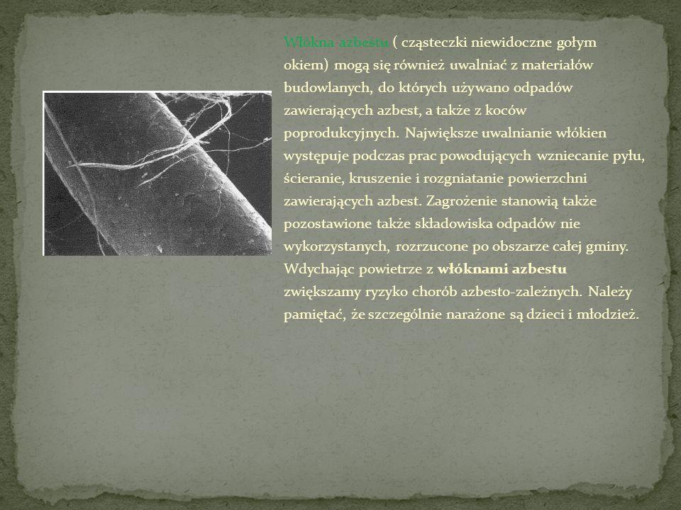 Włókna azbestu ( cząsteczki niewidoczne gołym okiem) mogą się również uwalniać z materiałów budowlanych, do których używano odpadów zawierających azbe
