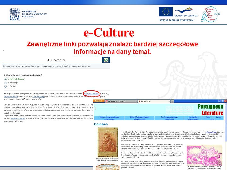 . Zewnętrzne linki pozwalają znaleźć bardziej szczegółowe informacje na dany temat.