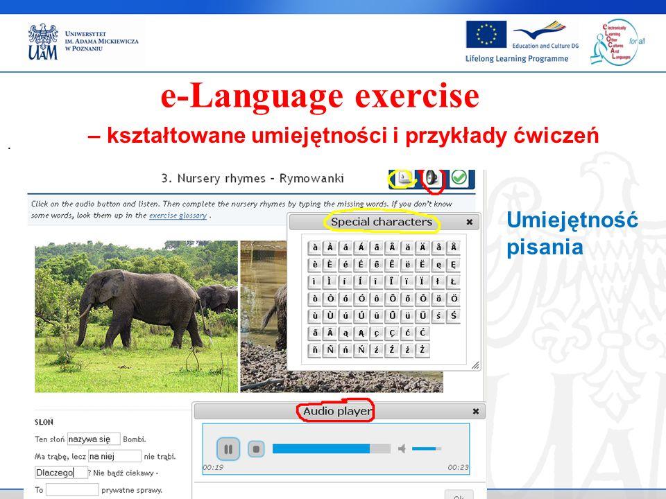 . e-Language exercise Umiejętność pisania – kształtowane umiejętności i przykłady ćwiczeń