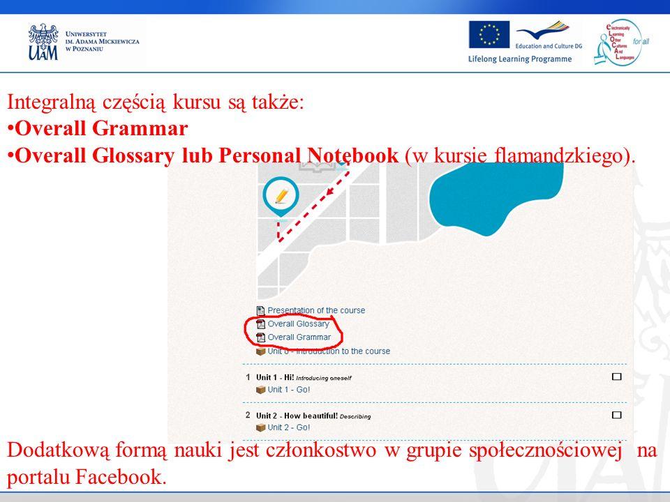 Integralną częścią kursu są także: Overall Grammar Overall Glossary lub Personal Notebook (w kursie flamandzkiego).