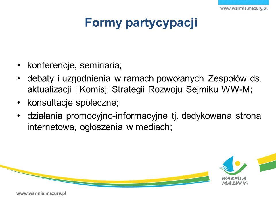Formy partycypacji konferencje, seminaria; debaty i uzgodnienia w ramach powołanych Zespołów ds.