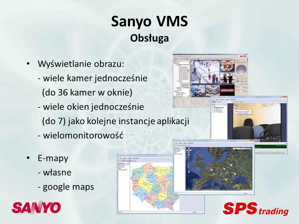 Sanyo VMS Inne cechy Automatyczne wyszukiwanie kamer Kreator dodawania kamer Monitorowanie stabilności pracy Konfiguracja uprawnień użytkowników Polska wersja językowa