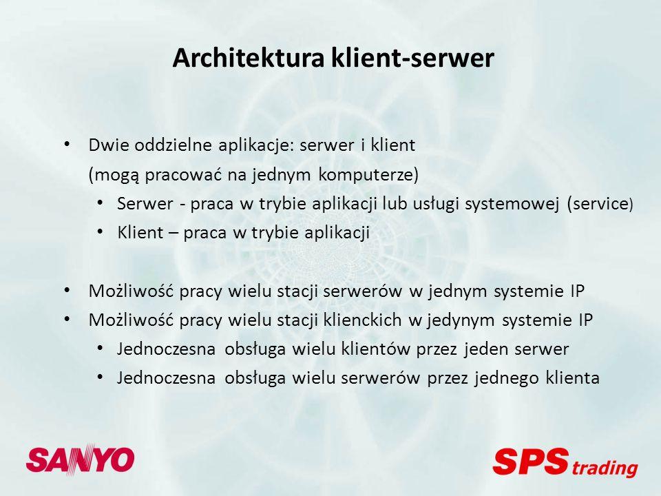 Sanyo VMS Licencje VMS Lite (VA-SW40) 4 kamery, 1 stacja serwera i 1 stacja klienta (na tym samym komputerze), obsługa kamer IP Sanyo (w tym Mpx) VMS Advanced (VA-SW50) 16 kamer, 1 stacja serwera i 5 stacji klienckich, obsługa kamer IP Sanyo (w tym Mpx) i innych producentów (bez Mpx) VMS Enterprise (VA-SW60) nieograniczona liczba kamer, 1 stacja serwera i nieograniczona liczba stacji klienckich, obsługa kamer IP Sanyo (w tym Mpx) i innych producentów (w tym Mpx) oraz rejestratorów Sanyo 1 licencja – 1 stacja serwera - Bezpłatna przy zakupie 2 kamer Sanyo - Bezpłatna przy zakupie 10 kamer Sanyo - Bezpłatna przy zakupie 16 kamer Sanyo