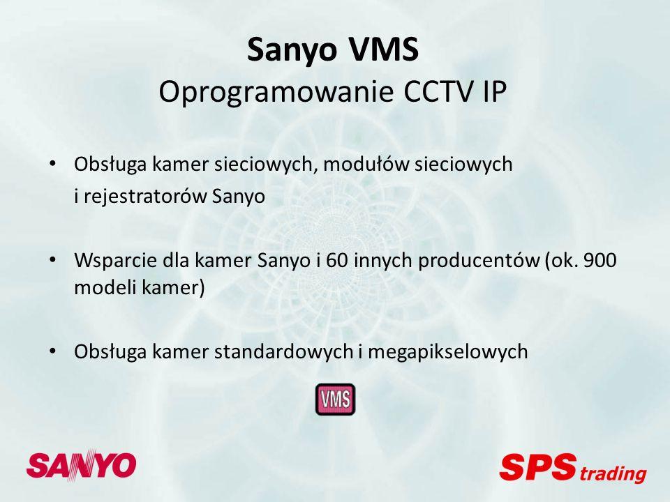 Kamery IP Sanyo Kamery klasyczne: - VCC-N6695P (H.264/JPEG) Kamery kompaktowe: - VCC-XZ200P + VA-20LAN (JPEG) - VCC-XZN600P (H.264/JPEG) - VCC-ZMN600P (H.264/JPEG)