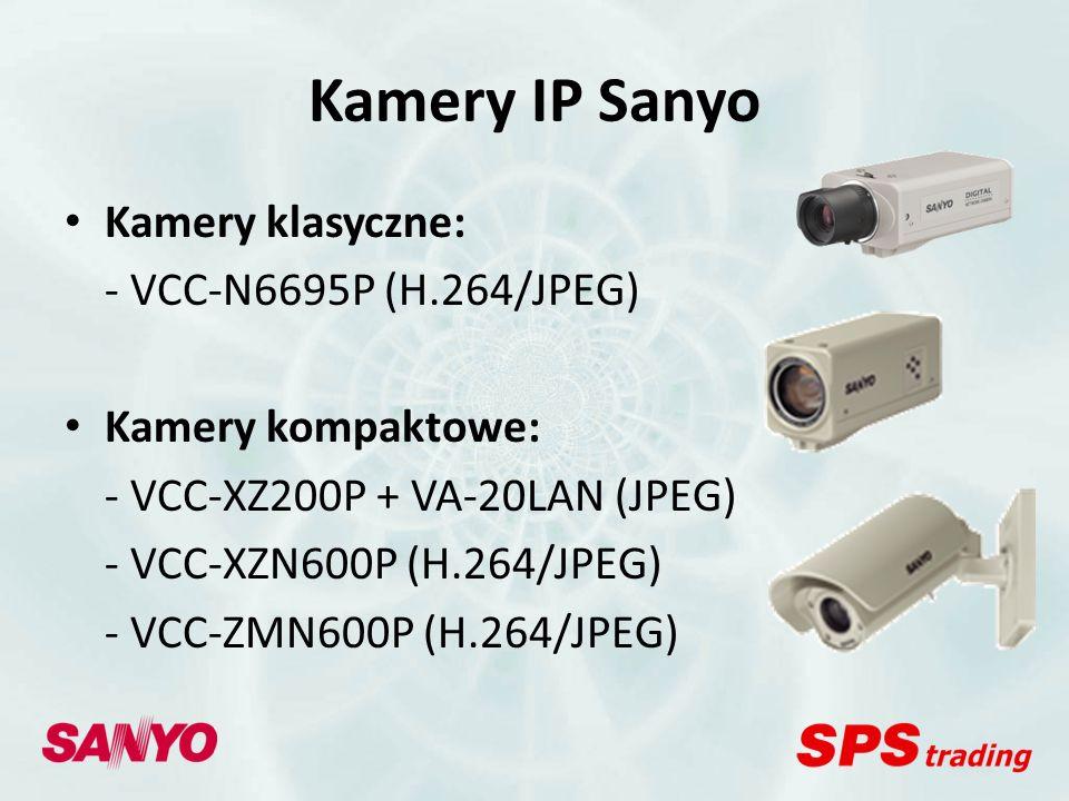 Kamery IP Sanyo Kamery klasyczne Mpx: - VCC-HD2100P (H.264/JPEG) - VCC-HD2300P (H.264/JPEG) - VCC-HD2500P (H.264/JPEG) Kamery kompaktowe Mpx: - VCC-HD4000P (H.264/JPEG) - VCC-HD4600P (H.264/JPEG)