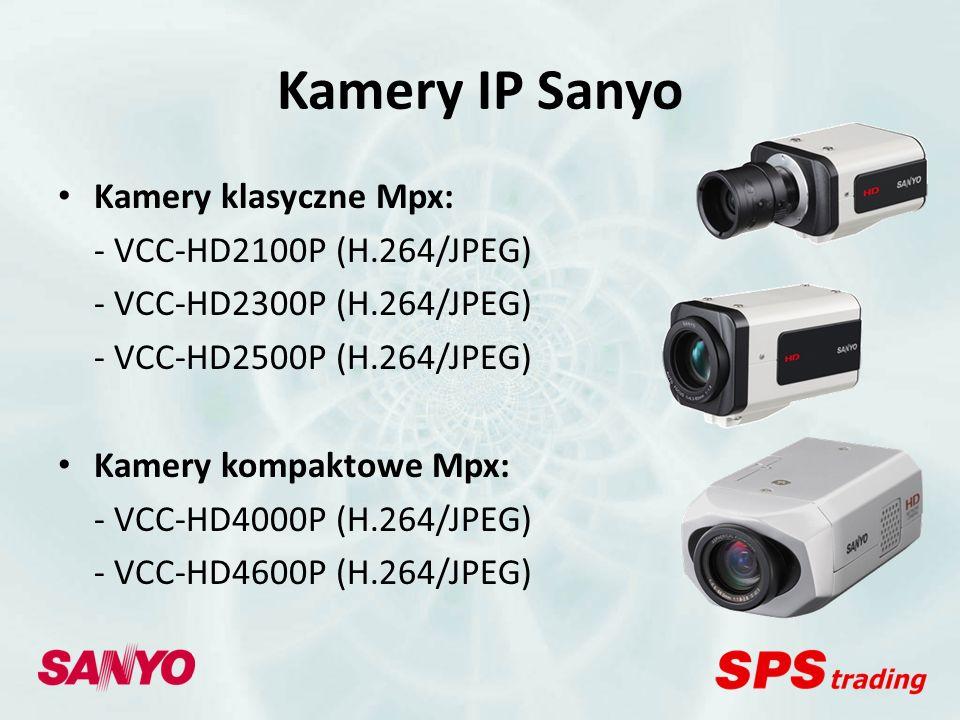 Kamery IP Sanyo Kamery kopułowe: - VCC-P7575PA + VA-50LAN (JPEG) lub VA-51LAN (JPEG) - VDC-DP7585P + VA-50LAN (JPEG) lub VA-51LAN (JPEG) Kamery kopułowe obrotowe: - VCC-PN9575P (JPEG) - VDC-DPN9585P (JPEG) Kamery szybkoobrotowe: - VCC-9500P E / VCC-9600P E / VCC-9700P E / VCC-9800P E + VA-80LAN (JPEG)lub VA-82LAN (H.264/JPEG)