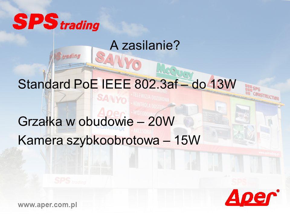 www.aper.com.pl A zasilanie? Standard PoE IEEE 802.3af – do 13W Grzałka w obudowie – 20W Kamera szybkoobrotowa – 15W