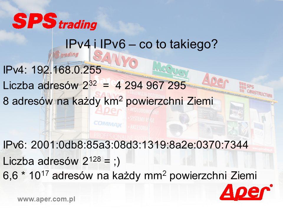 www.aper.com.pl IPv4 i IPv6 – co to takiego? IPv4: 192.168.0.255 IPv6: 2001:0db8:85a3:08d3:1319:8a2e:0370:7344 Liczba adresów 2 32 = 4 294 967 295 Lic