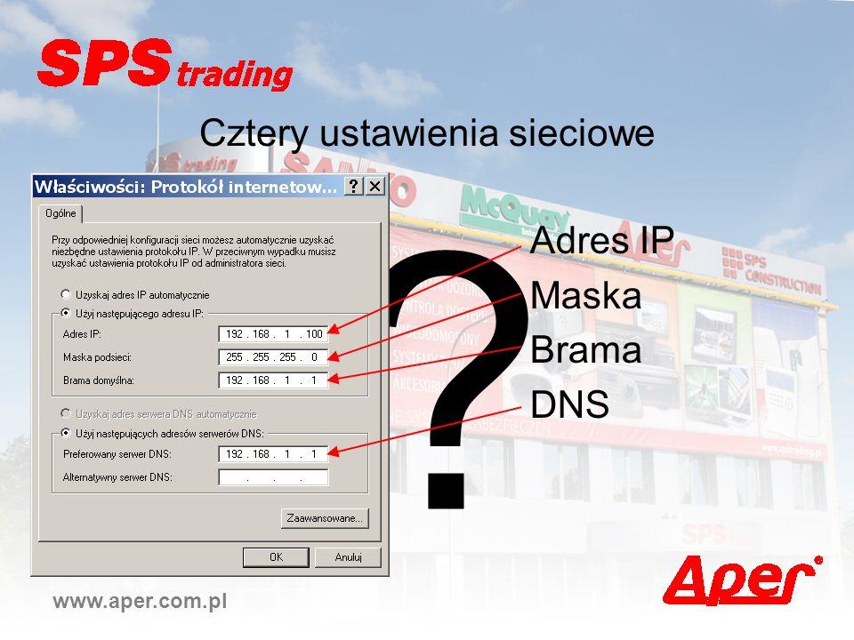 ? www.aper.com.pl Cztery ustawienia sieciowe Adres IP Maska Brama DNS