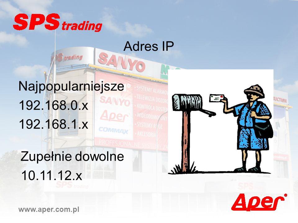 www.aper.com.pl Adres IP Najpopularniejsze 192.168.0.x 192.168.1.x Zupełnie dowolne 10.11.12.x