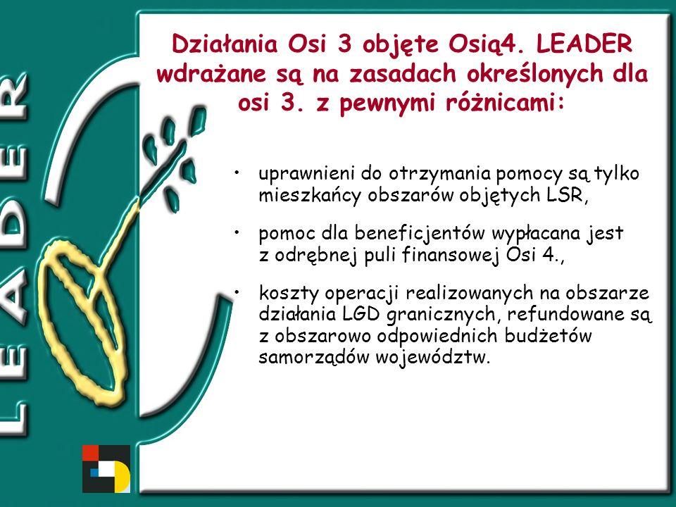 Działania Osi 3 objęte Osią4. LEADER wdrażane są na zasadach określonych dla osi 3.