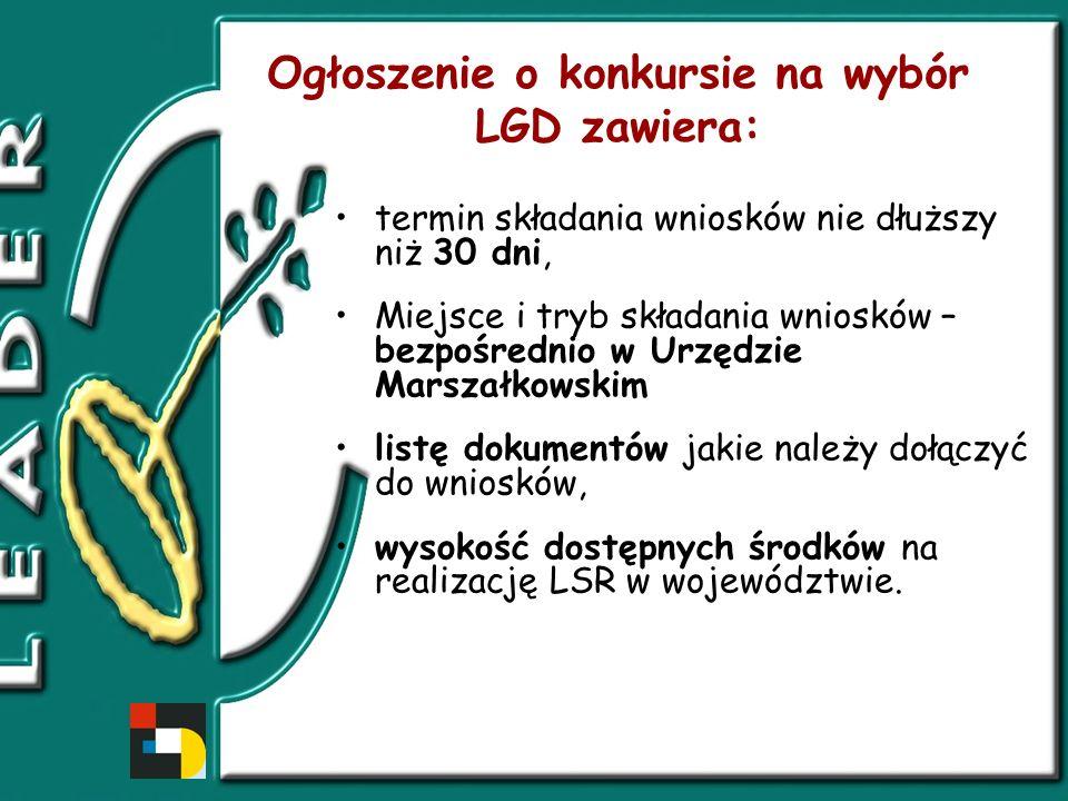 Ogłoszenie o konkursie na wybór LGD zawiera: termin składania wniosków nie dłuższy niż 30 dni, Miejsce i tryb składania wniosków – bezpośrednio w Urzędzie Marszałkowskim listę dokumentów jakie należy dołączyć do wniosków, wysokość dostępnych środków na realizację LSR w województwie.