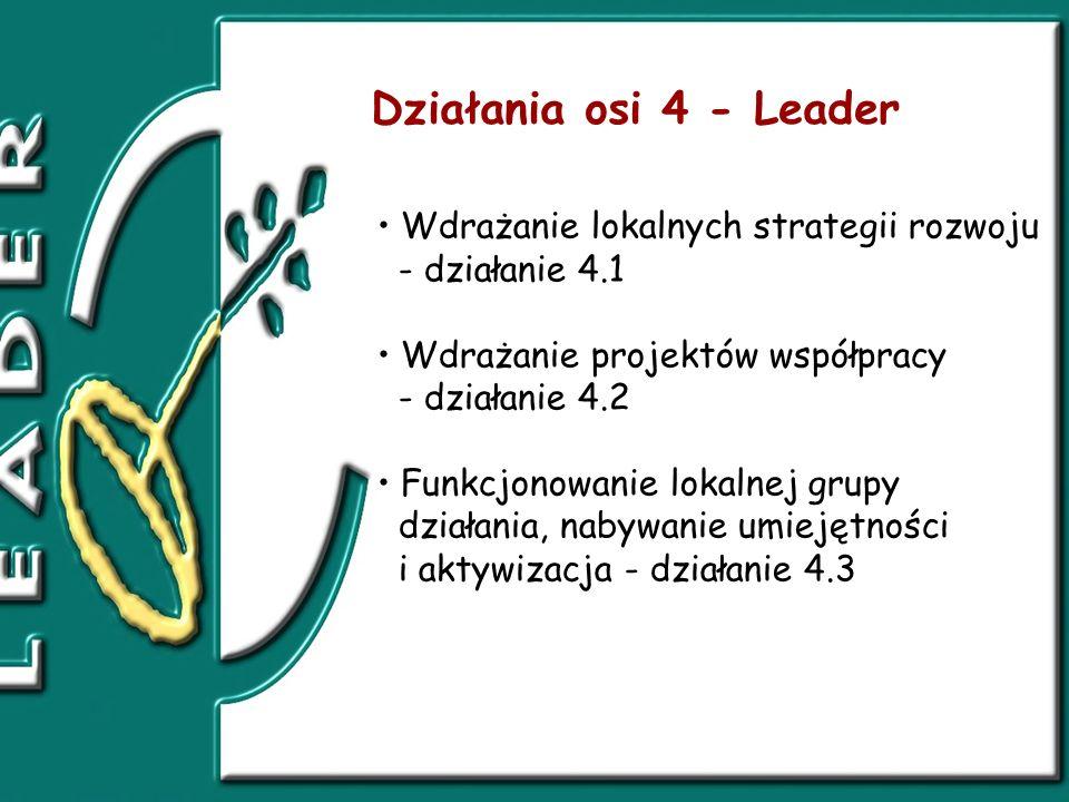 Wdrażanie lokalnych strategii rozwoju - działanie 4.1 Wdrażanie projektów współpracy - działanie 4.2 Funkcjonowanie lokalnej grupy działania, nabywanie umiejętności i aktywizacja - działanie 4.3 Działania osi 4 - Leader
