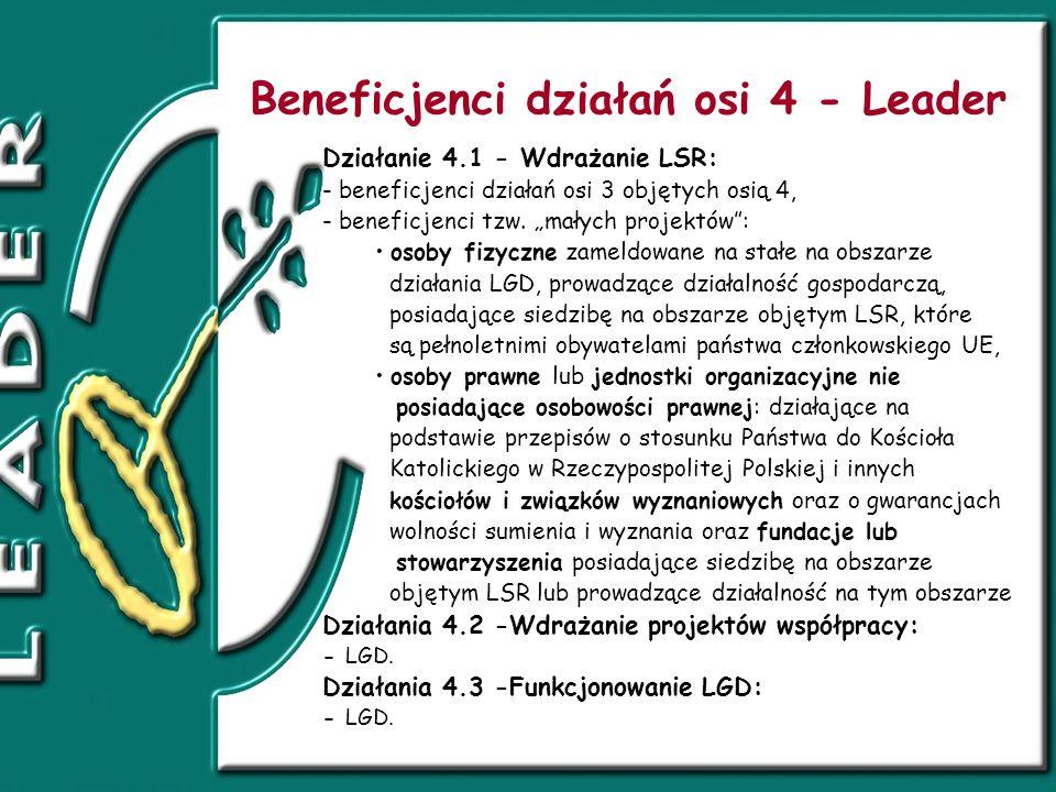 Beneficjenci działań osi 4 - Leader Działanie 4.1 - Wdrażanie LSR: - beneficjenci działań osi 3 objętych osią 4, - beneficjenci tzw.