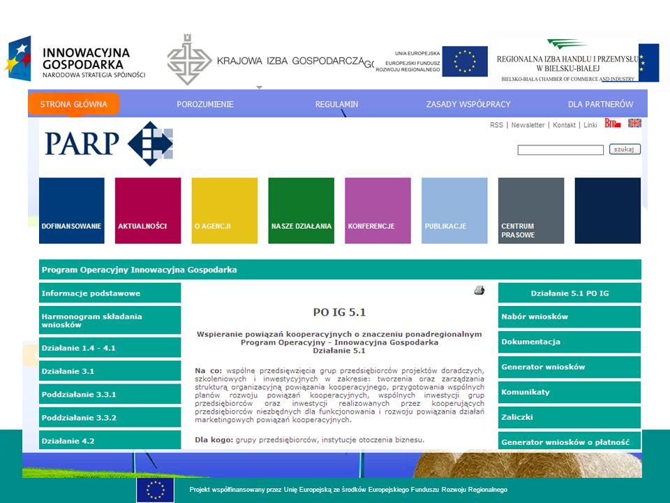 dla rozwoju innowacyjnej gospodarki Projekt współfinansowany przez Unię Europejską ze środków Europejskiego Funduszu Rozwoju Regionalnego