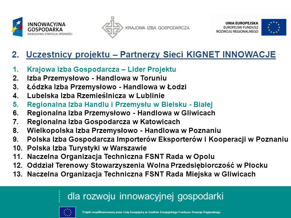 dla rozwoju innowacyjnej gospodarki Projekt współfinansowany przez Unię Europejską ze środków Europejskiego Funduszu Rozwoju Regionalnego 1.Cel projektu Celem Projektu jest rozwój zintegrowanej, ponadregionalnej Sieci KIGNET INNOWACJE, świadczącej wysokiej jakości usługi doradcze o charakterze proinnowacyjnym.