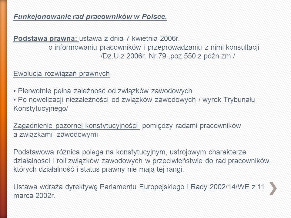 Funkcjonowanie rad pracowników w Polsce. Podstawa prawna: ustawa z dnia 7 kwietnia 2006r. o informowaniu pracowników i przeprowadzaniu z nimi konsulta