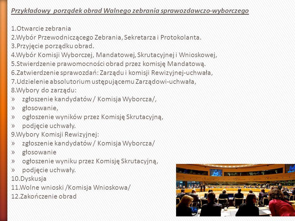 Przykładowy porządek obrad Walnego zebrania sprawozdawczo-wyborczego 1.Otwarcie zebrania 2.Wybór Przewodniczącego Zebrania, Sekretarza i Protokolanta.
