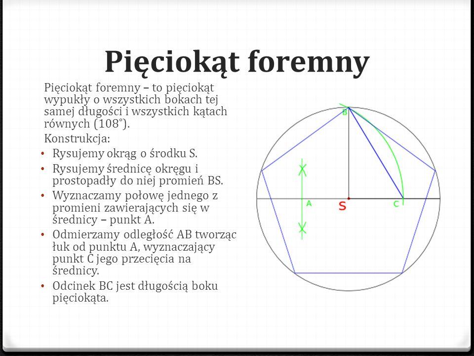 Pięciokąt foremny Pięciokąt foremny – to pięciokąt wypukły o wszystkich bokach tej samej długości i wszystkich kątach równych (108˚). Konstrukcja: Rys