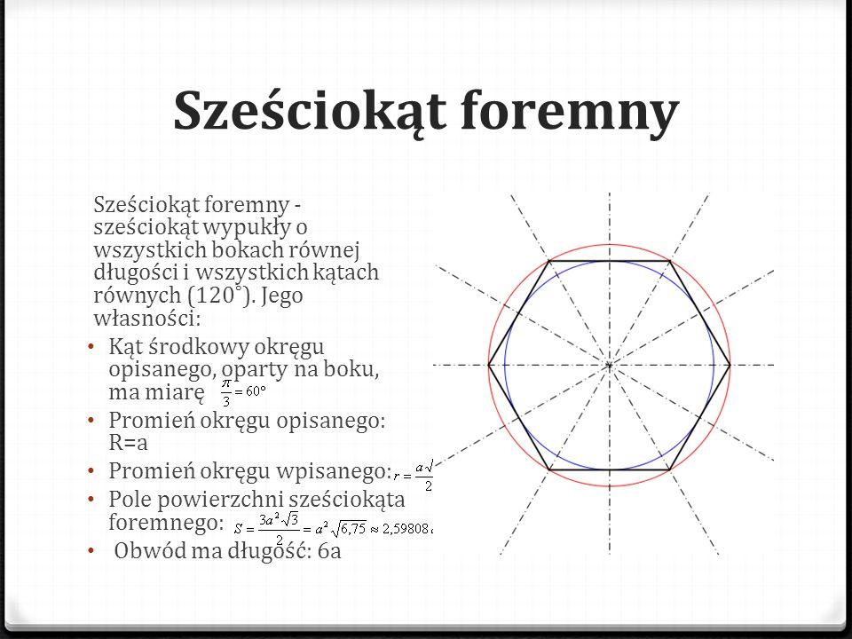 Sześciokąt foremny Sześciokąt foremny - sześciokąt wypukły o wszystkich bokach równej długości i wszystkich kątach równych (120˚). Jego własności: Kąt