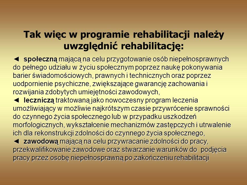 Tak więc w programie rehabilitacji należy uwzględnić rehabilitację: społeczną mającą na celu przygotowanie osób niepełnosprawnych do pełnego udziału w życiu społecznym poprzez naukę pokonywania barier świadomościowych, prawnych i technicznych oraz poprzez uodpornienie psychiczne, zwiększające gwarancję zachowania i rozwijania zdobytych umiejętności zawodowych, leczniczą traktowaną jako nowoczesny program leczenia umożliwiający w możliwie najkrótszym czasie przywrócenie sprawności do czynnego życia społecznego lub w przypadku uszkodzeń morfologicznych, wykształcenie mechanizmów zastępczych i utrwalenie ich dla rekonstrukcji zdolności do czynnego życia społecznego, społeczną mającą na celu przygotowanie osób niepełnosprawnych do pełnego udziału w życiu społecznym poprzez naukę pokonywania barier świadomościowych, prawnych i technicznych oraz poprzez uodpornienie psychiczne, zwiększające gwarancję zachowania i rozwijania zdobytych umiejętności zawodowych, leczniczą traktowaną jako nowoczesny program leczenia umożliwiający w możliwie najkrótszym czasie przywrócenie sprawności do czynnego życia społecznego lub w przypadku uszkodzeń morfologicznych, wykształcenie mechanizmów zastępczych i utrwalenie ich dla rekonstrukcji zdolności do czynnego życia społecznego, zawodową mającą na celu przywracanie zdolności do pracy, przekwalifikowanie zawodowe oraz stwarzanie warunków do podjęcia pracy przez osobę niepełnosprawną po zakończeniu rehabilitacji zawodową mającą na celu przywracanie zdolności do pracy, przekwalifikowanie zawodowe oraz stwarzanie warunków do podjęcia pracy przez osobę niepełnosprawną po zakończeniu rehabilitacji