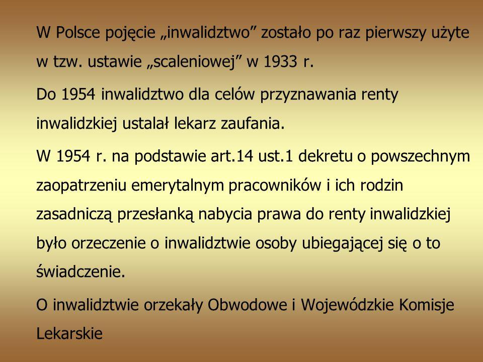 W Polsce pojęcie inwalidztwo zostało po raz pierwszy użyte w tzw.