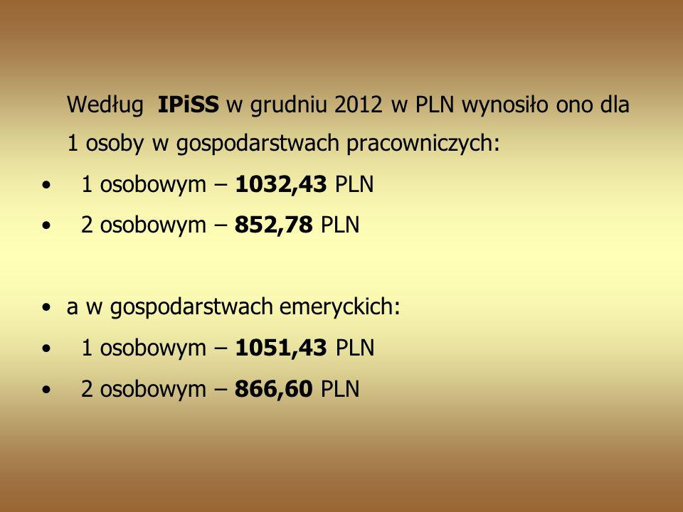 Według IPiSS w grudniu 2012 w PLN wynosiło ono dla 1 osoby w gospodarstwach pracowniczych: 1 osobowym – 1032,43 PLN 2 osobowym – 852,78 PLN a w gospodarstwach emeryckich: 1 osobowym – 1051,43 PLN 2 osobowym – 866,60 PLN