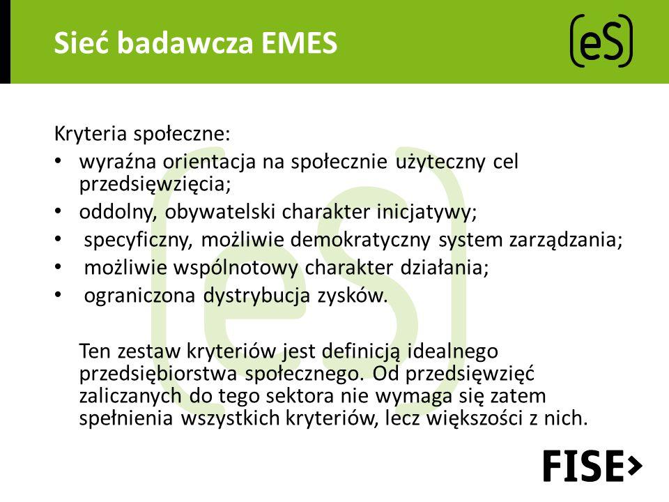 Sieć badawcza EMES Kryteria społeczne: wyraźna orientacja na społecznie użyteczny cel przedsięwzięcia; oddolny, obywatelski charakter inicjatywy; specyficzny, możliwie demokratyczny system zarządzania; możliwie wspólnotowy charakter działania; ograniczona dystrybucja zysków.