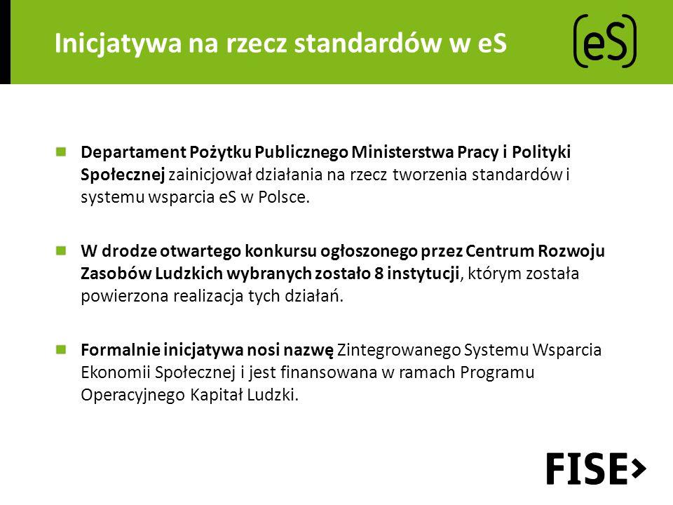 Inicjatywa na rzecz standardów w eS Departament Pożytku Publicznego Ministerstwa Pracy i Polityki Społecznej zainicjował działania na rzecz tworzenia standardów i systemu wsparcia eS w Polsce.