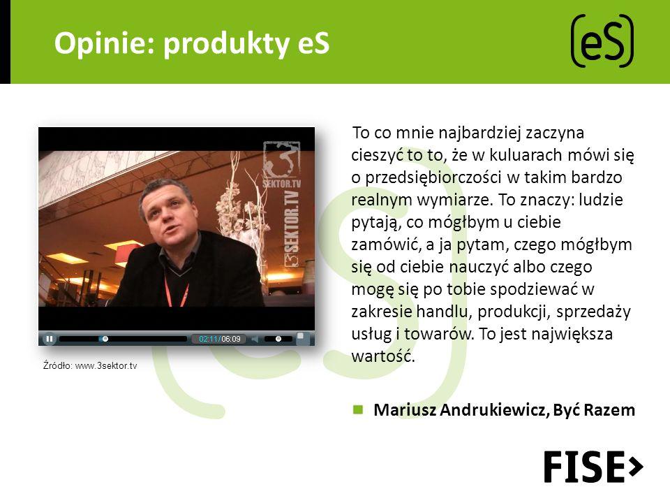 Opinie: produkty eS To co mnie najbardziej zaczyna cieszyć to to, że w kuluarach mówi się o przedsiębiorczości w takim bardzo realnym wymiarze.
