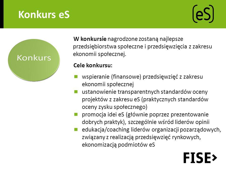 Konkurs eS W konkursie nagrodzone zostaną najlepsze przedsiębiorstwa społeczne i przedsięwzięcia z zakresu ekonomii społecznej.