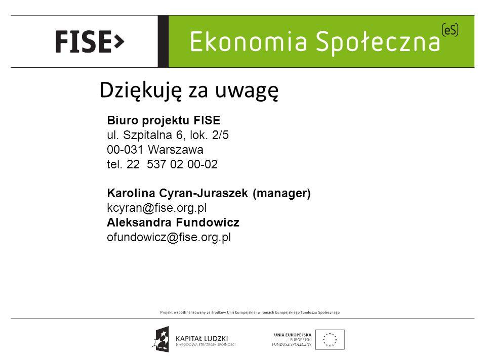 Dziękuję za uwagę Biuro projektu FISE ul. Szpitalna 6, lok.