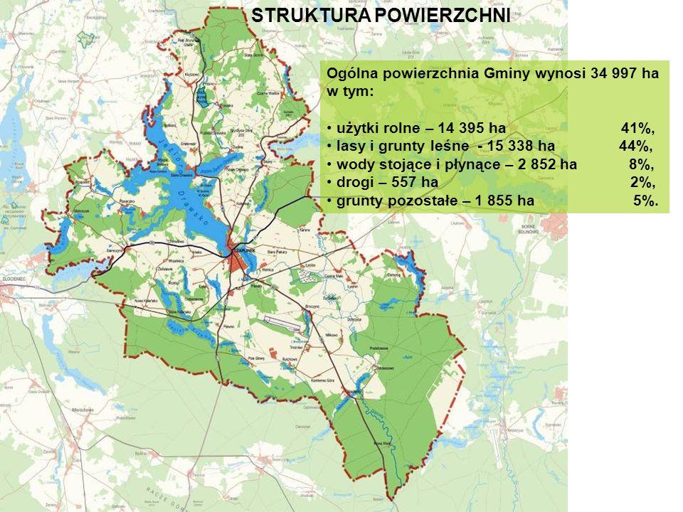 Ogólna powierzchnia Gminy wynosi 34 997 ha w tym: użytki rolne – 14 395 ha 41%, lasy i grunty leśne - 15 338 ha 44%, wody stojące i płynące – 2 852 ha