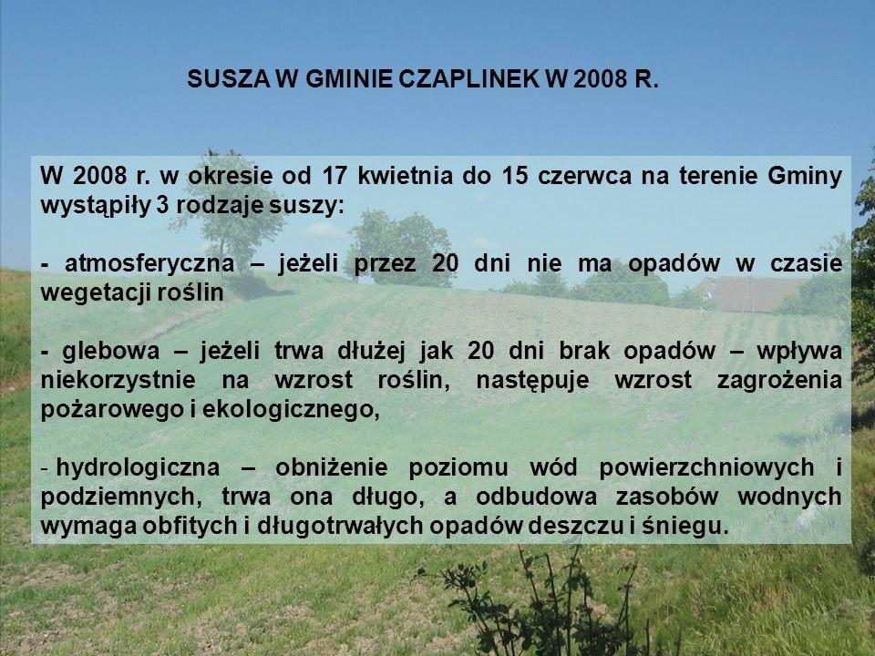 SUSZA W GMINIE CZAPLINEK W 2008 R. W 2008 r. w okresie od 17 kwietnia do 15 czerwca na terenie Gminy wystąpiły 3 rodzaje suszy: - atmosferyczna – jeże