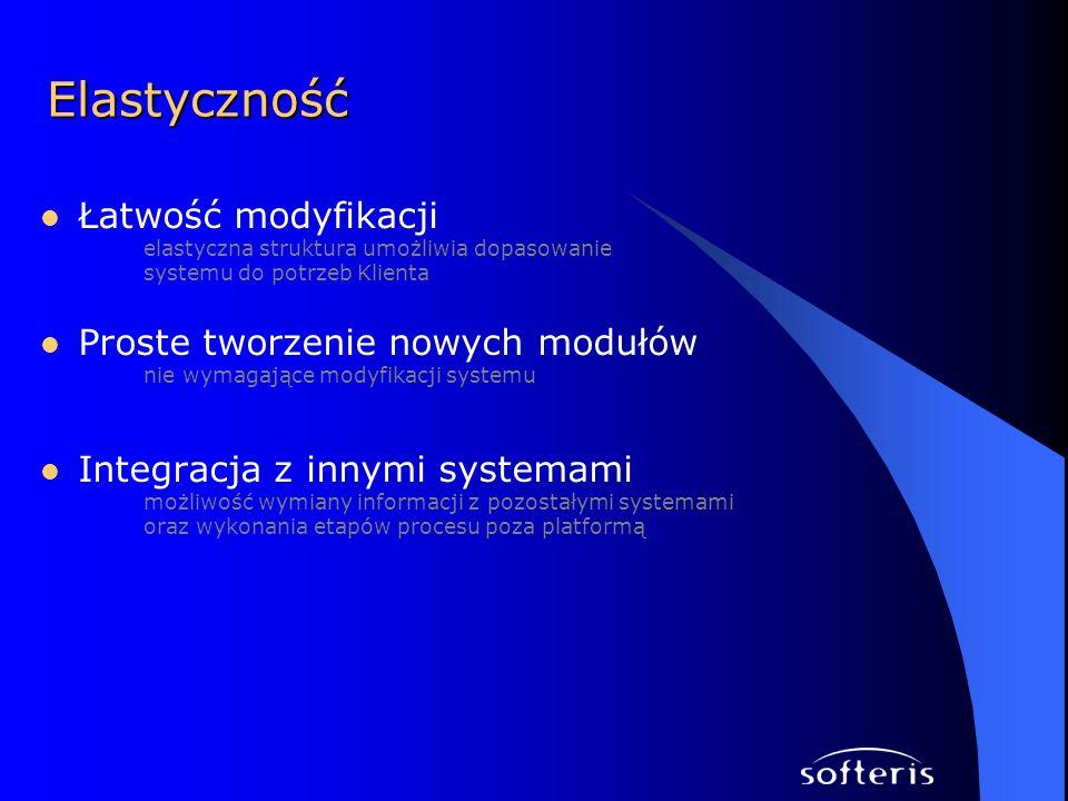 Łatwość modyfikacji elastyczna struktura umożliwia dopasowanie systemu do potrzeb Klienta Proste tworzenie nowych modułów nie wymagające modyfikacji systemu Integracja z innymi systemami możliwość wymiany informacji z pozostałymi systemami oraz wykonania etapów procesu poza platformą Elastyczność