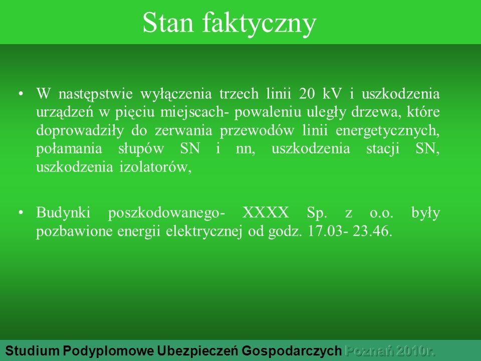 Stan faktyczny W następstwie wyłączenia trzech linii 20 kV i uszkodzenia urządzeń w pięciu miejscach- powaleniu uległy drzewa, które doprowadziły do zerwania przewodów linii energetycznych, połamania słupów SN i nn, uszkodzenia stacji SN, uszkodzenia izolatorów, Budynki poszkodowanego- XXXX Sp.