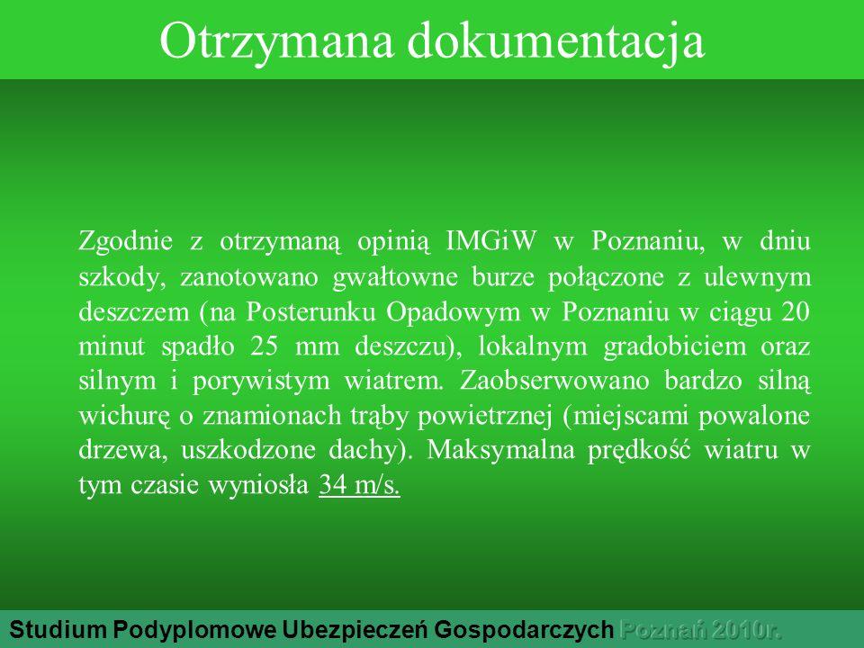 Otrzymana dokumentacja Zgodnie z otrzymaną opinią IMGiW w Poznaniu, w dniu szkody, zanotowano gwałtowne burze połączone z ulewnym deszczem (na Posterunku Opadowym w Poznaniu w ciągu 20 minut spadło 25 mm deszczu), lokalnym gradobiciem oraz silnym i porywistym wiatrem.