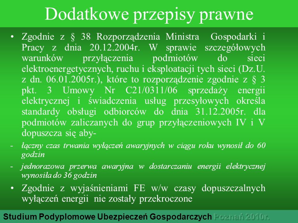 Dodatkowe przepisy prawne Zgodnie z § 38 Rozporządzenia Ministra Gospodarki i Pracy z dnia 20.12.2004r.