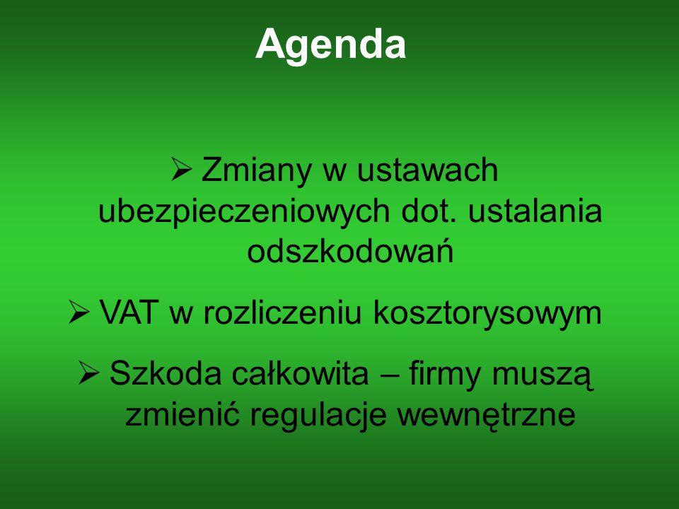 Agenda Zmiany w ustawach ubezpieczeniowych dot. ustalania odszkodowań VAT w rozliczeniu kosztorysowym Szkoda całkowita – firmy muszą zmienić regulacje