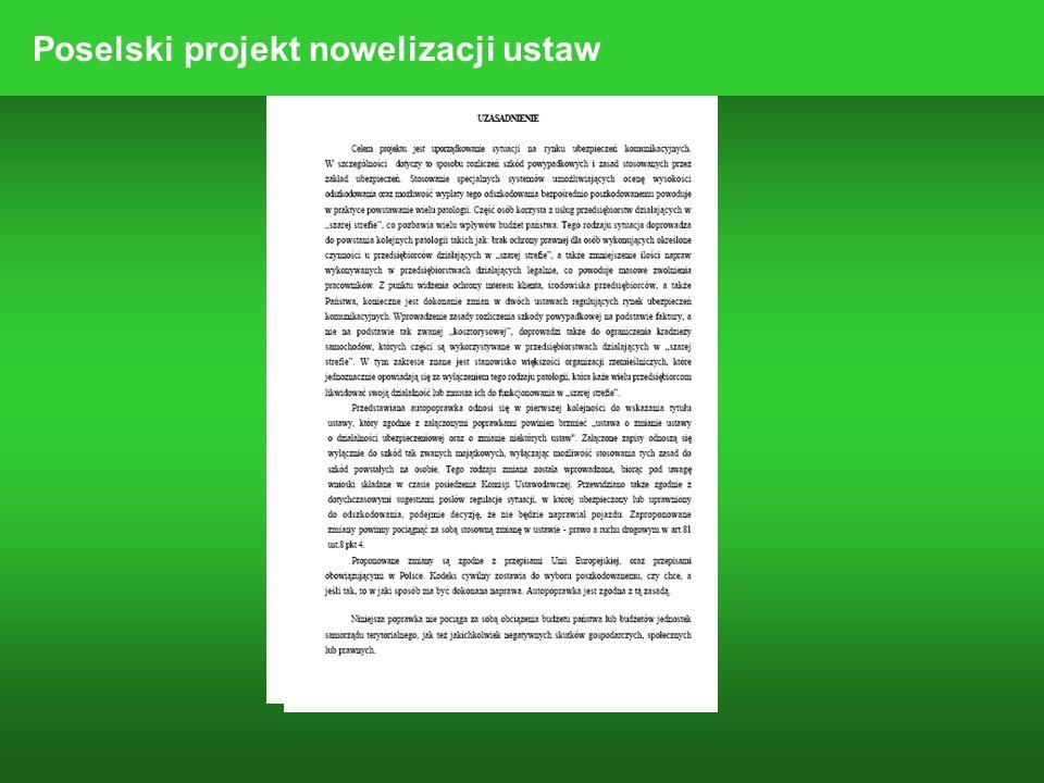 Poselski projekt nowelizacji ustaw