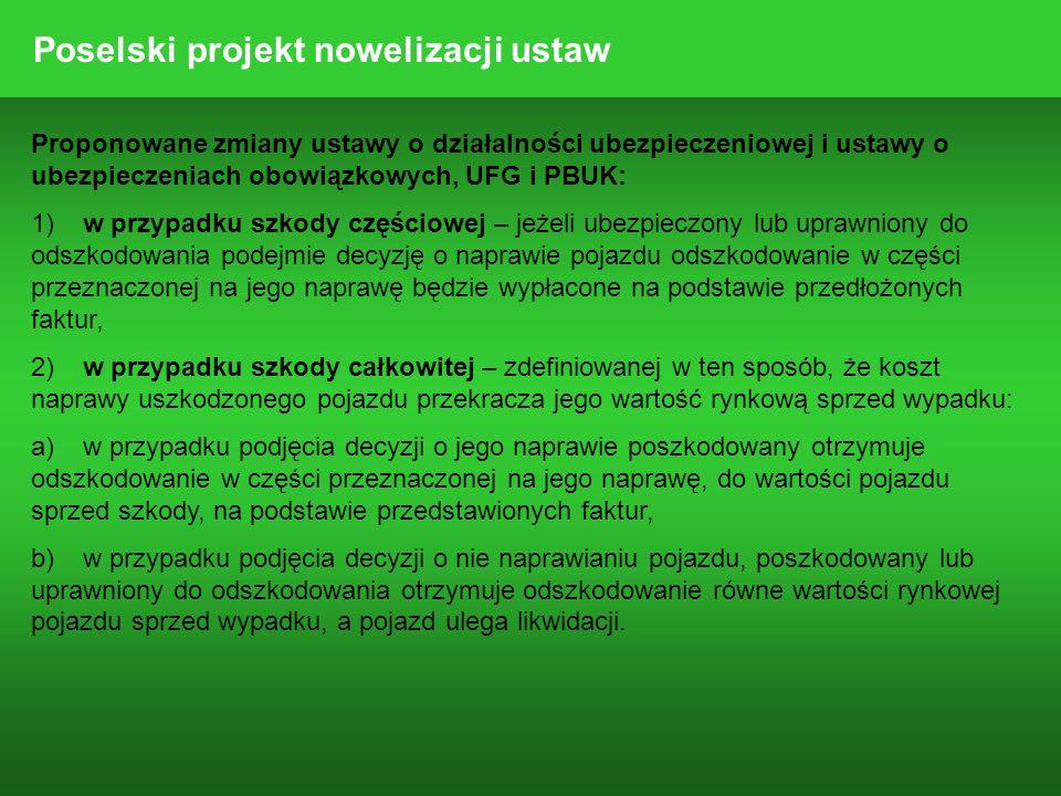 Proponowane zmiany ustawy o działalności ubezpieczeniowej i ustawy o ubezpieczeniach obowiązkowych, UFG i PBUK: 1)w przypadku szkody częściowej – jeże