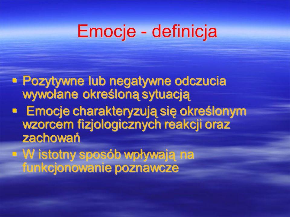 Emocje - definicja Pozytywne lub negatywne odczucia wywołane określoną sytuacją Pozytywne lub negatywne odczucia wywołane określoną sytuacją Emocje ch