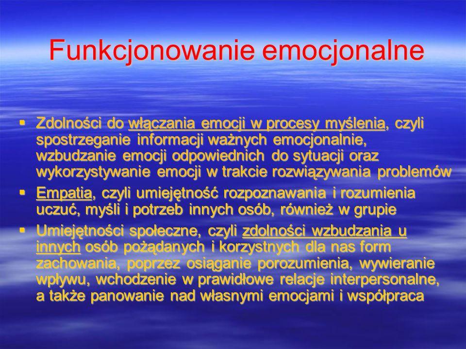 Funkcjonowanie emocjonalne Zdolności do włączania emocji w procesy myślenia, czyli spostrzeganie informacji ważnych emocjonalnie, wzbudzanie emocji od