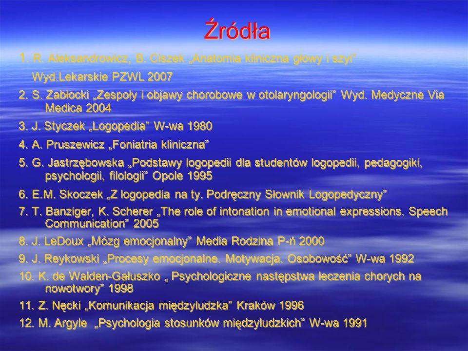Źródła 1. R. Aleksandrowicz, B. Ciszek Anatomia kliniczna głowy i szyi Wyd.Lekarskie PZWL 2007 Wyd.Lekarskie PZWL 2007 2. S. Zabłocki Zespoły i objawy