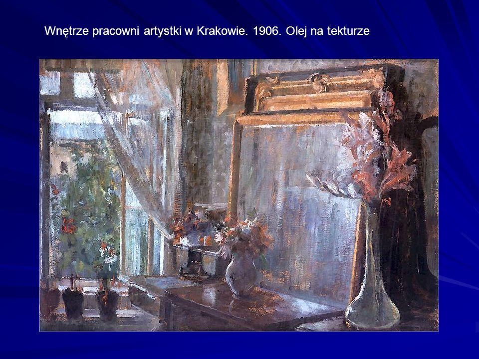 Wnętrze pracowni artystki w Krakowie. 1906. Olej na tekturze