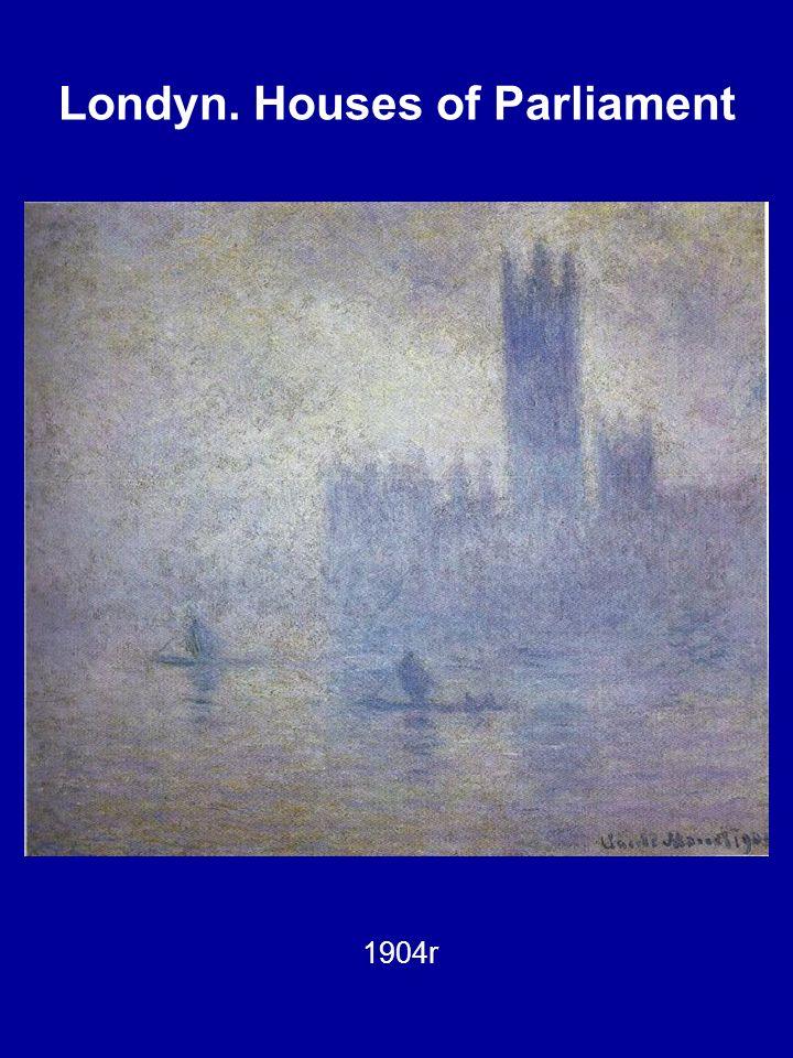 Londyn. Houses of Parliament Słońce przebijające się przez mgłę, 1904r.