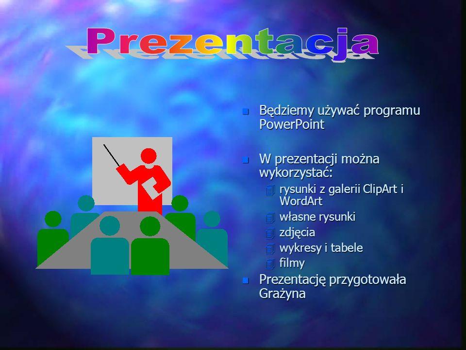 n Będziemy używać programu PowerPoint n W prezentacji można wykorzystać: 4rysunki z galerii ClipArt i WordArt 4własne rysunki 4zdjęcia 4wykresy i tabe