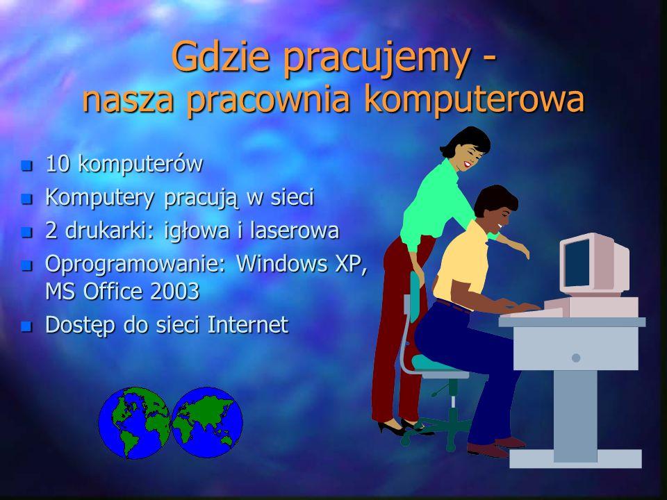 Gdzie pracujemy - nasza pracownia komputerowa n 10 komputerów n Komputery pracują w sieci n 2 drukarki: igłowa i laserowa n Oprogramowanie: Windows XP